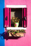 Colorful window in Burano near Venice Stock Photography