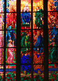 Colorful window in famous cathedral Stock Photo