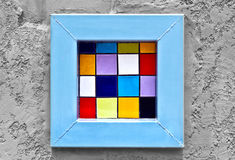 Colorful window pop art abstract on rough grunge gray  wall. Background Stock Photo