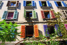 Colorful window shutters. On exterior of building Royalty Free Stock Photography