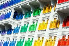 Colorful window shutters  at Clark Quay, Singapore Stock Photography