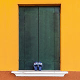 Colorful window in Venetian island of Burano Stock Image