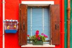 Colorful window on the wall, Burano, Venice, Italy Royalty Free Stock Photo