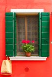 Colorful window on the wall, Burano, Venice, Italy Royalty Free Stock Image
