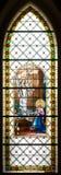 Colorful windowpane in Basilica of Levoca, Slovakia royalty free stock photos