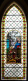 Colorful windowpane in Basilica of Levoca, Slovakia Stock Photo