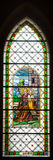 Colorful windowpane in Basilica of Levoca, Slovakia Royalty Free Stock Image