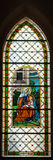 Colorful windowpane in Basilica of Levoca, Slovakia royalty free stock photography