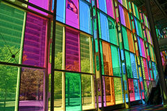 Colorful Windows. The colorful windows from the inside of the Hall of Congress in Montreal, Quebec stock images