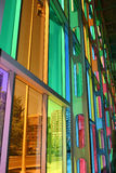 Colorful Windows. A view of downtown Montreal from the inside of the Hall of Congress windows stock images