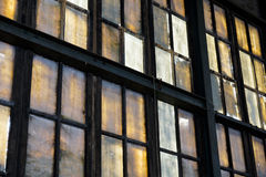 Colorful windows in abandoned factory royalty free stock photos