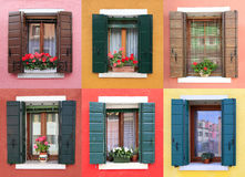 Colorful windows in Burano, near Venice Stock Photography
