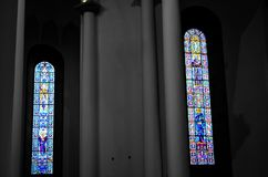 Colorful windows in christian church royalty free stock photo