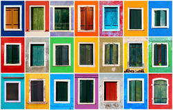 Colorful windows collage Royalty Free Stock Photography