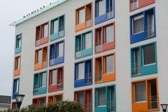Colorful windows frame a facade stock photography