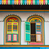 Colorful windows on a house in Little India, Singapore Stock Photos