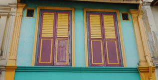 Colorful windows at the old house in Singapore Stock Photography