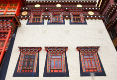 Colorful windows in Songzanlin Monastery in Zhongdian (Shangri-L. A), Yunnan, China Royalty Free Stock Photos
