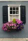 Windows and window boxes planters displays adornments enhance architecture. Colorful windows and window boxes planters displays adornments enhance architecture royalty free stock photography