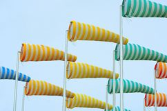 Colorful windsocks in port Royalty Free Stock Photos