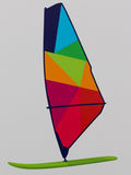 Colorful WindSurf Board Picture on White Background Royalty Free Stock Photo