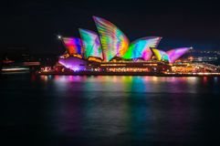 Colorful Wings on the Sails of Opera House. Sydney, Australia -May 25, 2018: Vivid Sydney Festival in Sydney Harbour, Australia. Spectacular and popular outdoor Royalty Free Stock Images