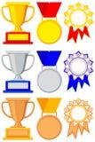 Colorful winner award gold silver bronze set. Goblet, medal, ribbon rosette. Sport vector illustration for gift card, flayer, certificate banner, icon, logo stock illustration