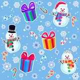 Christmas seamless pattern with snowmen, gifts, candy canes and snowflakes. Colorful winter cartoon background. New year vector illustration Stock Illustration