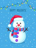 Christmas greeting card with cute snowman and electric lights. stock image