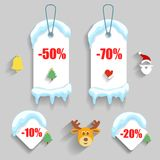 Colorful winter Christmas sale stickers and tags Stock Photo
