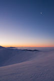 Colorful winter minutes before sunrise in the Carpathian mountains Royalty Free Stock Photography