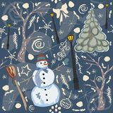 Colorful Winter Seamless Pattern with snowman and tree. Stock Photos