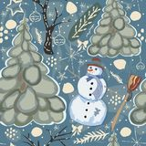 Colorful Winter Seamless Pattern with snowman and tree. Stock Photography