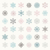 Colorful Winter Snow Flakes Doodles. Vector Illustration Royalty Free Stock Photos