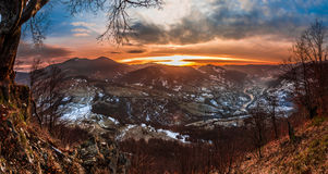 Colorful winter sunrise in the Carpathian mountains Royalty Free Stock Photos
