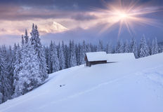 Colorful winter sunrise in the mountains. Dramatic sky. Royalty Free Stock Photos