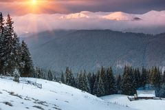 Colorful winter sunrise in the mountains. Fantastic morning glowing by sunlight. View of the snowy forest and old wooden hut cabin Stock Photo