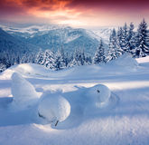Colorful winter sunrise in the mountains. Royalty Free Stock Images