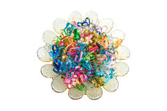 Colorful wire ribbon heart Stock Images