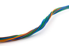 Colorful wires. Colorful twisted wires isolated on white Royalty Free Stock Photography
