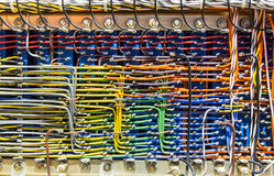 Colorful wires in analog electronic box Stock Photography