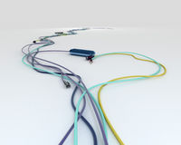 Colorful wires with jacks - shpae of heart Royalty Free Stock Photo