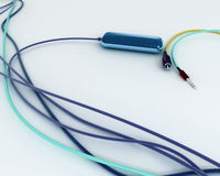 Colorful Wires With Jacks And USB Flash Drive Stock Photos