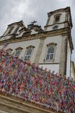 Colorful wish ribbons in front of Bonfim church at Salvador Bahia, Brazil. Colorful wish ribbons in front of Bonfim church at Salvador Bahia on Brazil stock images