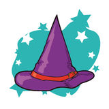 Colorful Witch Hat in Stars Background, Vector Illustration Stock Photo