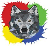Colorful Wolf. A colorful background for a mighty beast, a hunter, a wolf. Using simple shapes you get the picture of an amazing animal Stock Photos