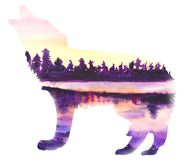 Colorful wolf howling at the moon. With a background of lake and mountains stock illustration