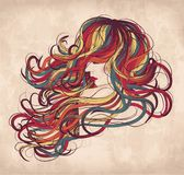 Colorful womain with wild hair. Hand drawn woman with long colorful hair Stock Photography