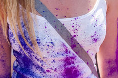 Colorful woman body in the indian festival Holi. Tenerife. Spain stock image