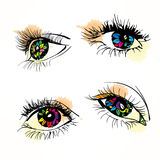 Colorful woman eye. Vector illustration. Colored lenses in the set. Vector illustration Stock Image